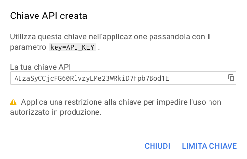 Chiave API creata
