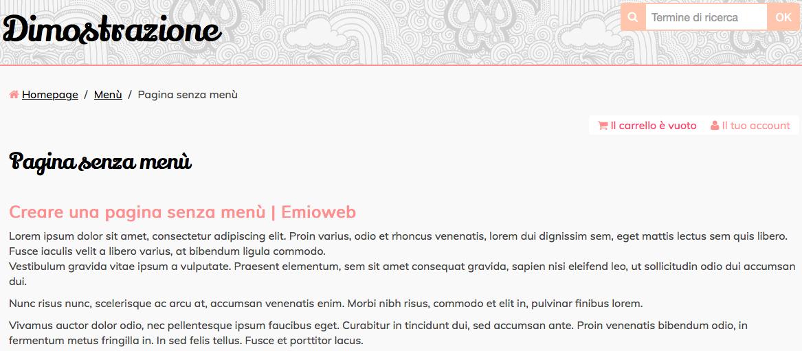 Dimostrazione pagina senza menu