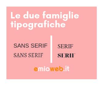 Le due famiglie tipografiche
