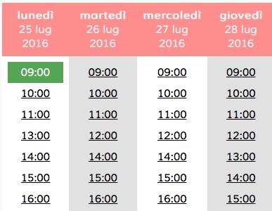 Elenco degli orari disponibili