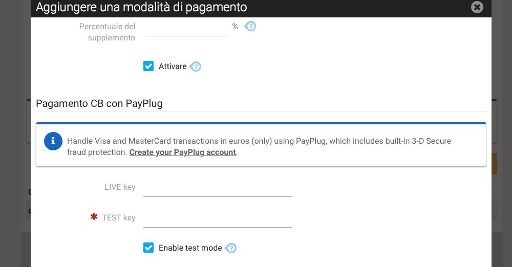 Pagamento tramite PayPlug