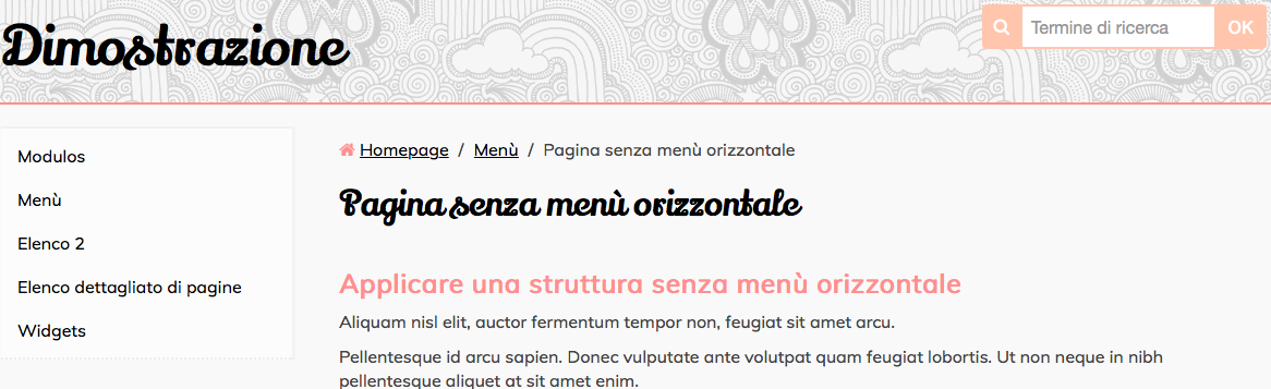 Sul sito pagina solo con menu verticale
