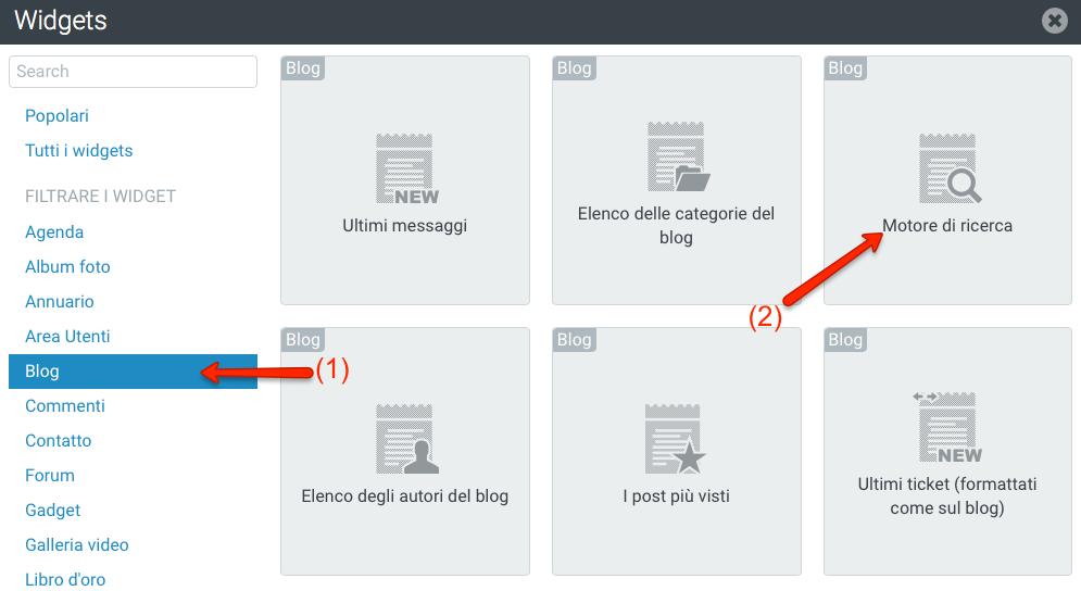 Widget Motore di ricerca dei post del Blog